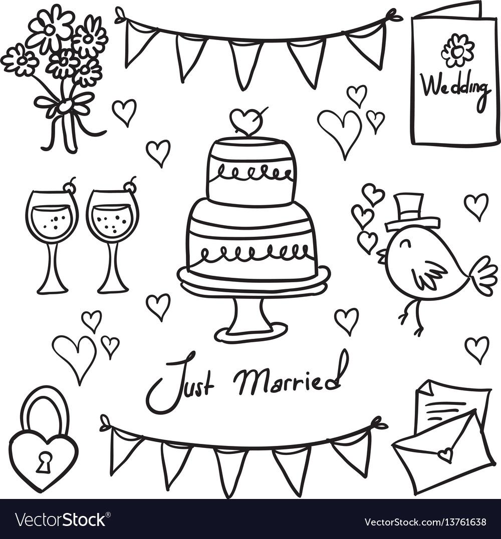 Doodle of wedding style art vector image