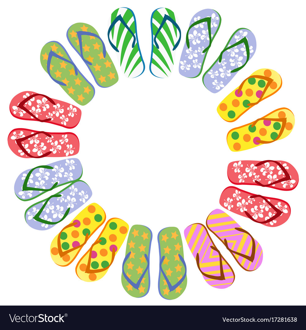 Flip flops circle with copy space