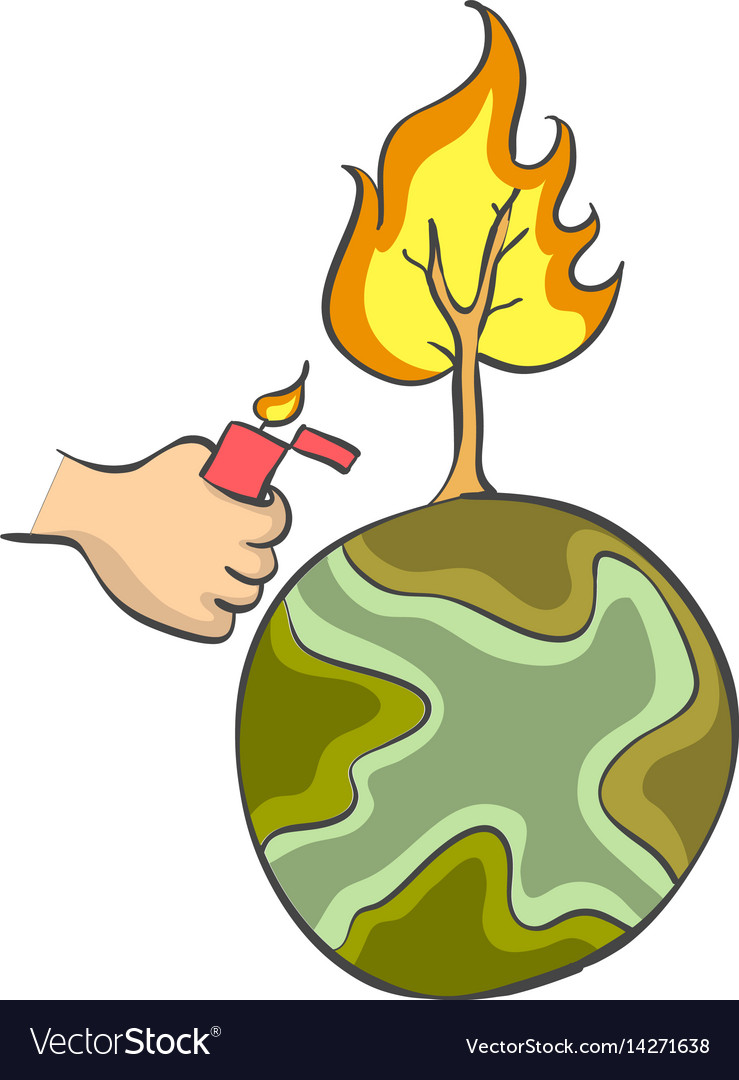 Forest on fire bad environment vector image