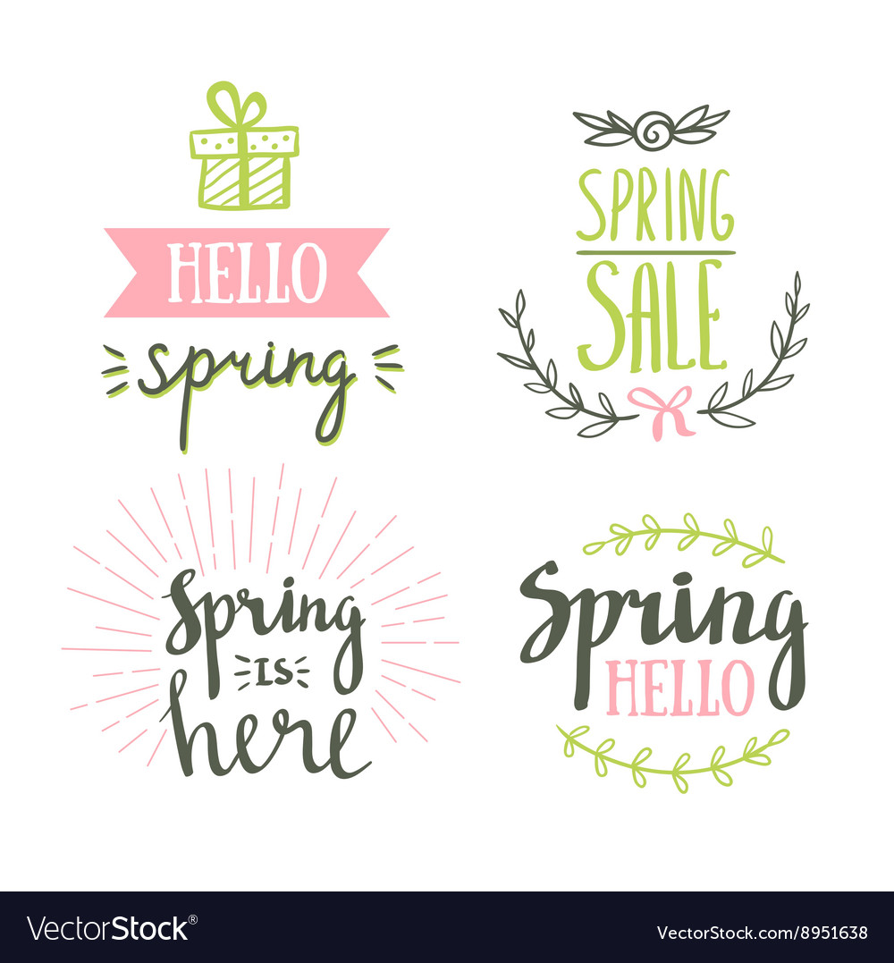 Hand Drawn spring lettering Easter Holidays