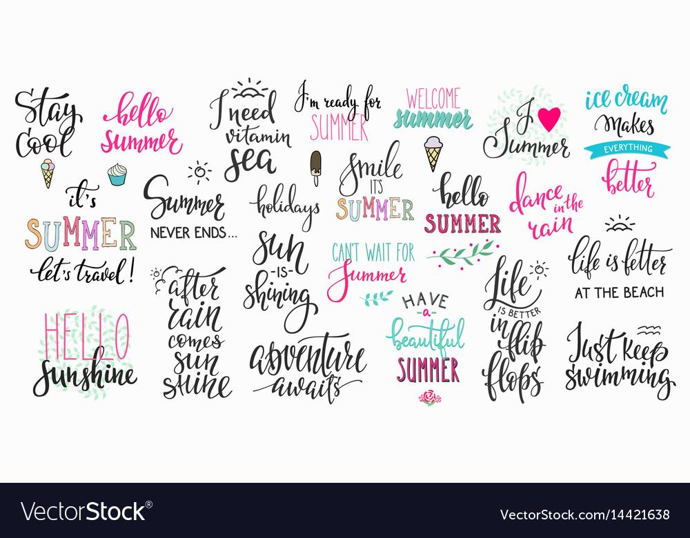 Hello summer lettering typography big set