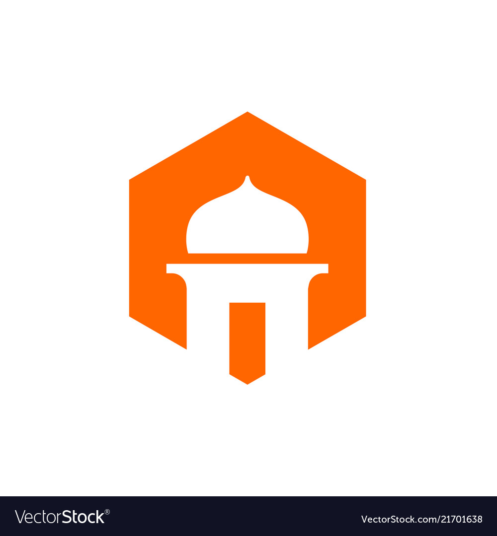 Mosque and orange color hexagon icon
