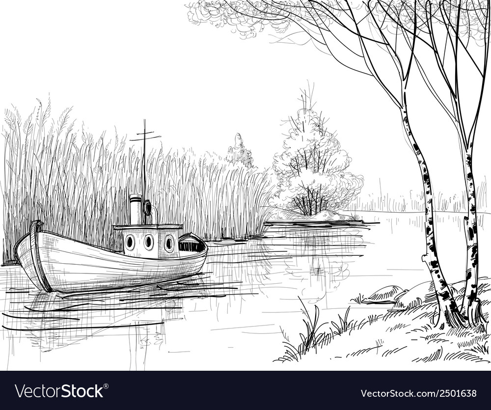 Nature sketch boat on river or delta
