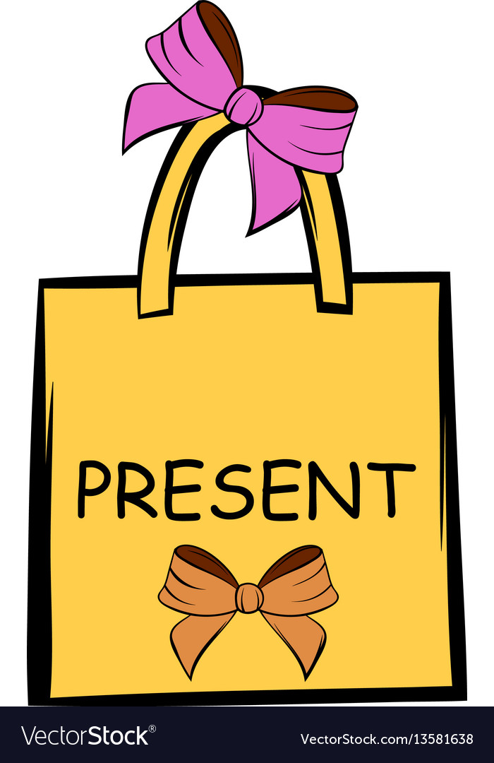 Paper bag with bows icon cartoon