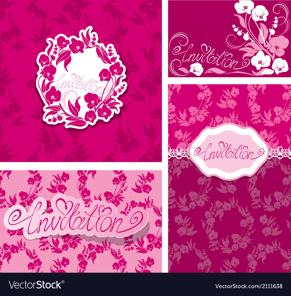 Set of Greeting Cards with Orchid Flowers and hand