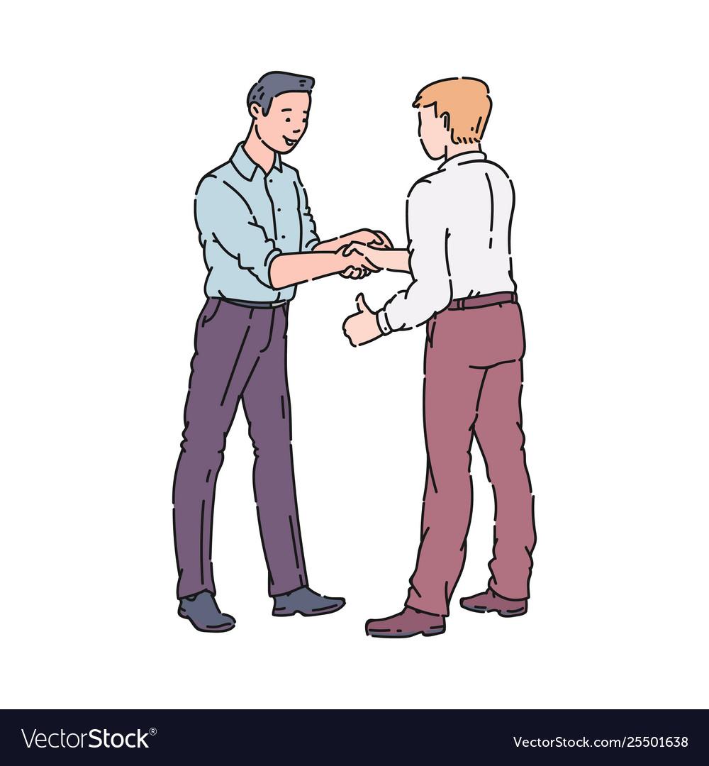 Two men doing a handshake