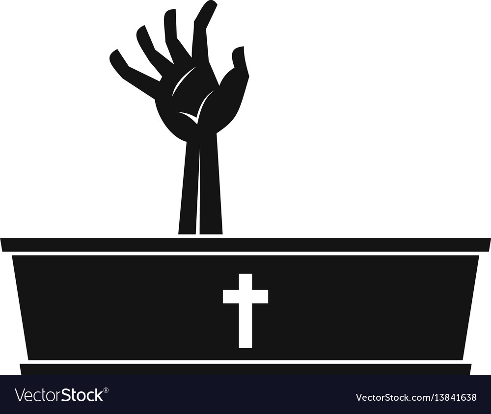Zombie hand coming out of his coffin icon vector image