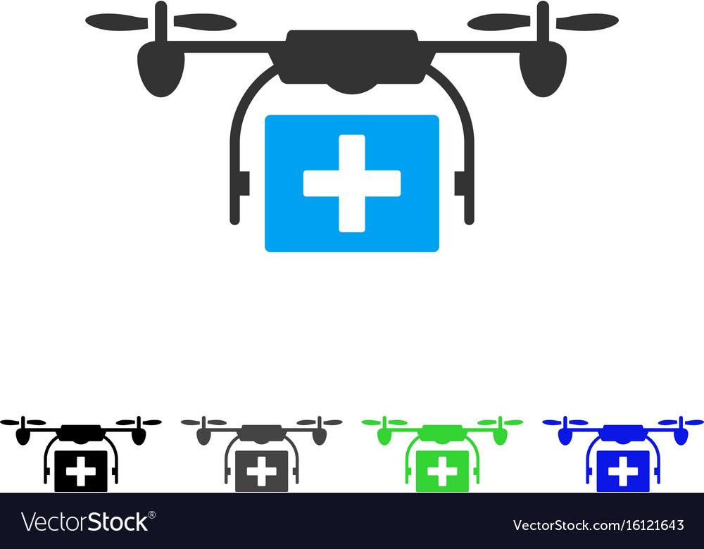 Ambulance drone flat icon vector image