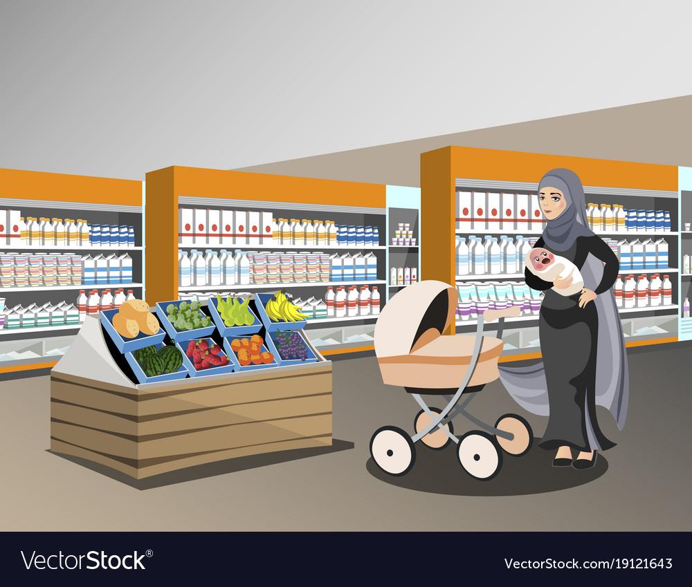 Arab woman bags big shop super market shopping