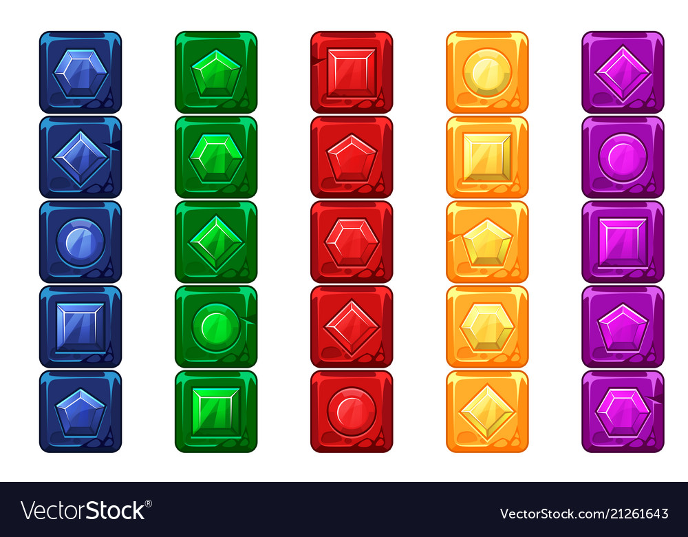 Cartoon gems multi-colored stone buttons for ui