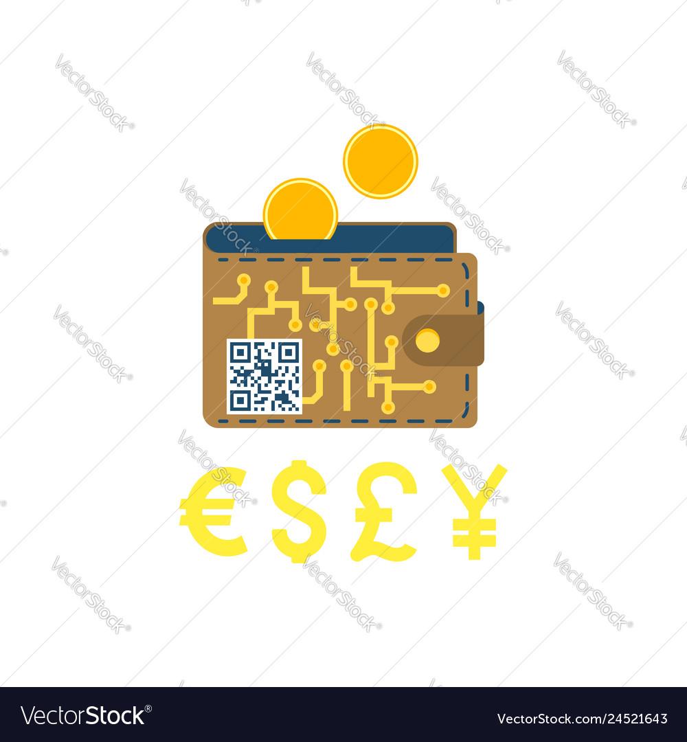 Digital wallet concept flat icon