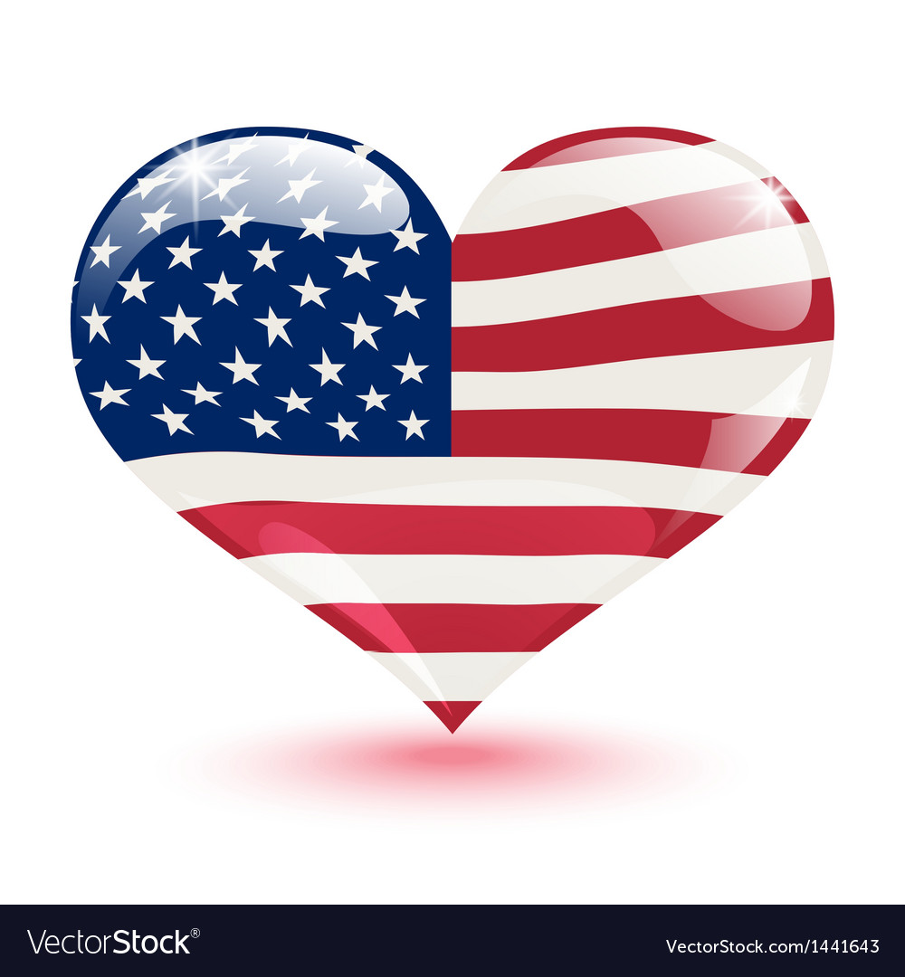 Flag of the United States in the form of heart
