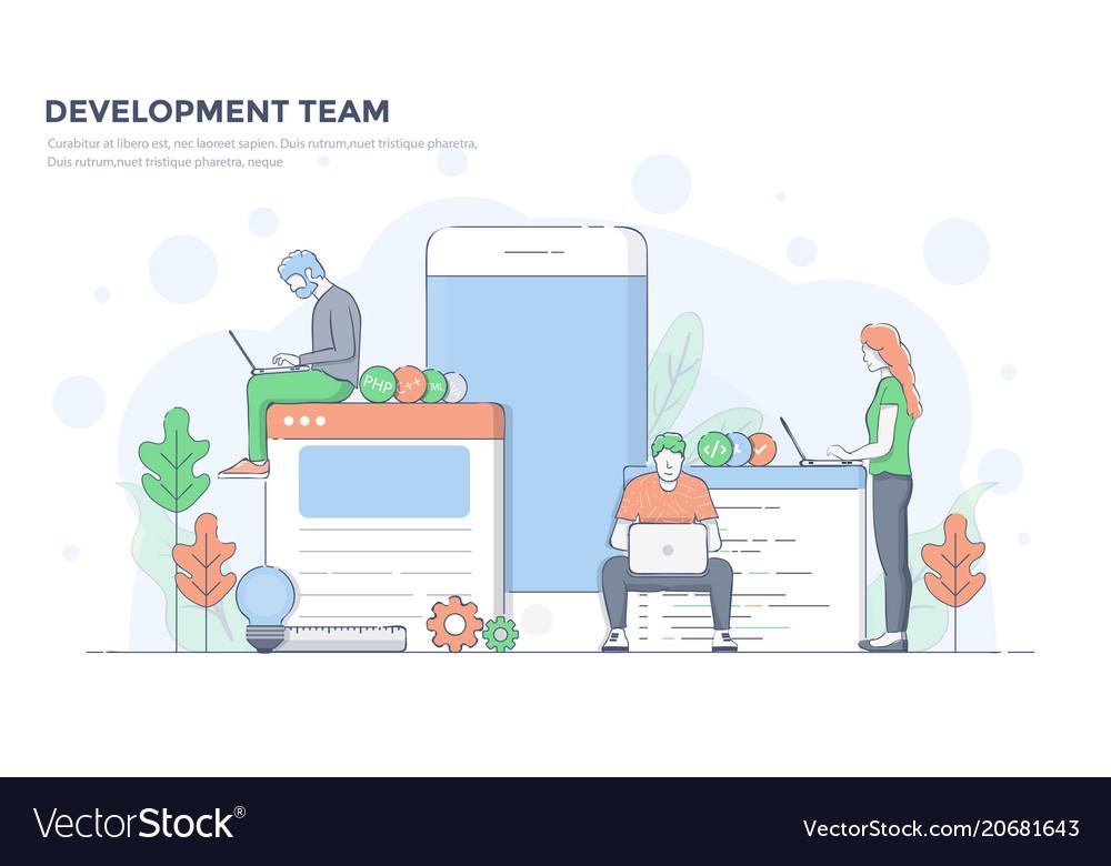 Flat line modern concept - development team