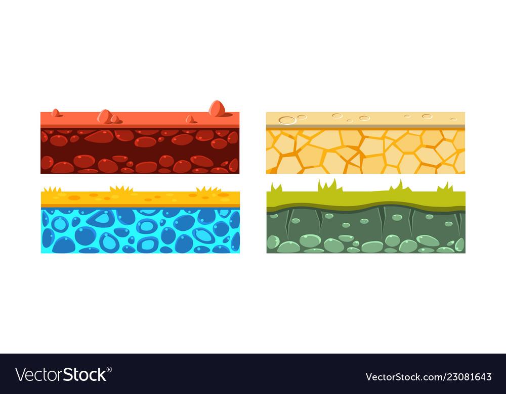 Flat set of 4 seamless platforms blocks