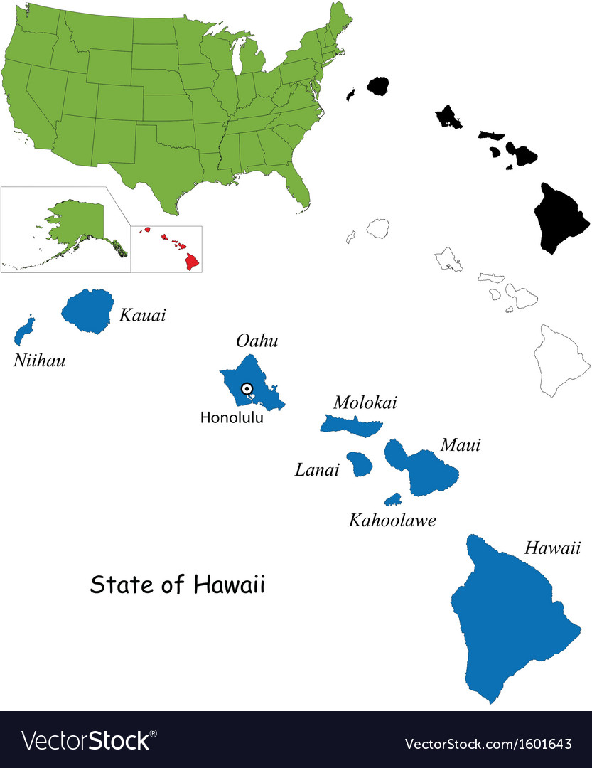 Hawaii Map Royalty Free Vector Image Vectorstock