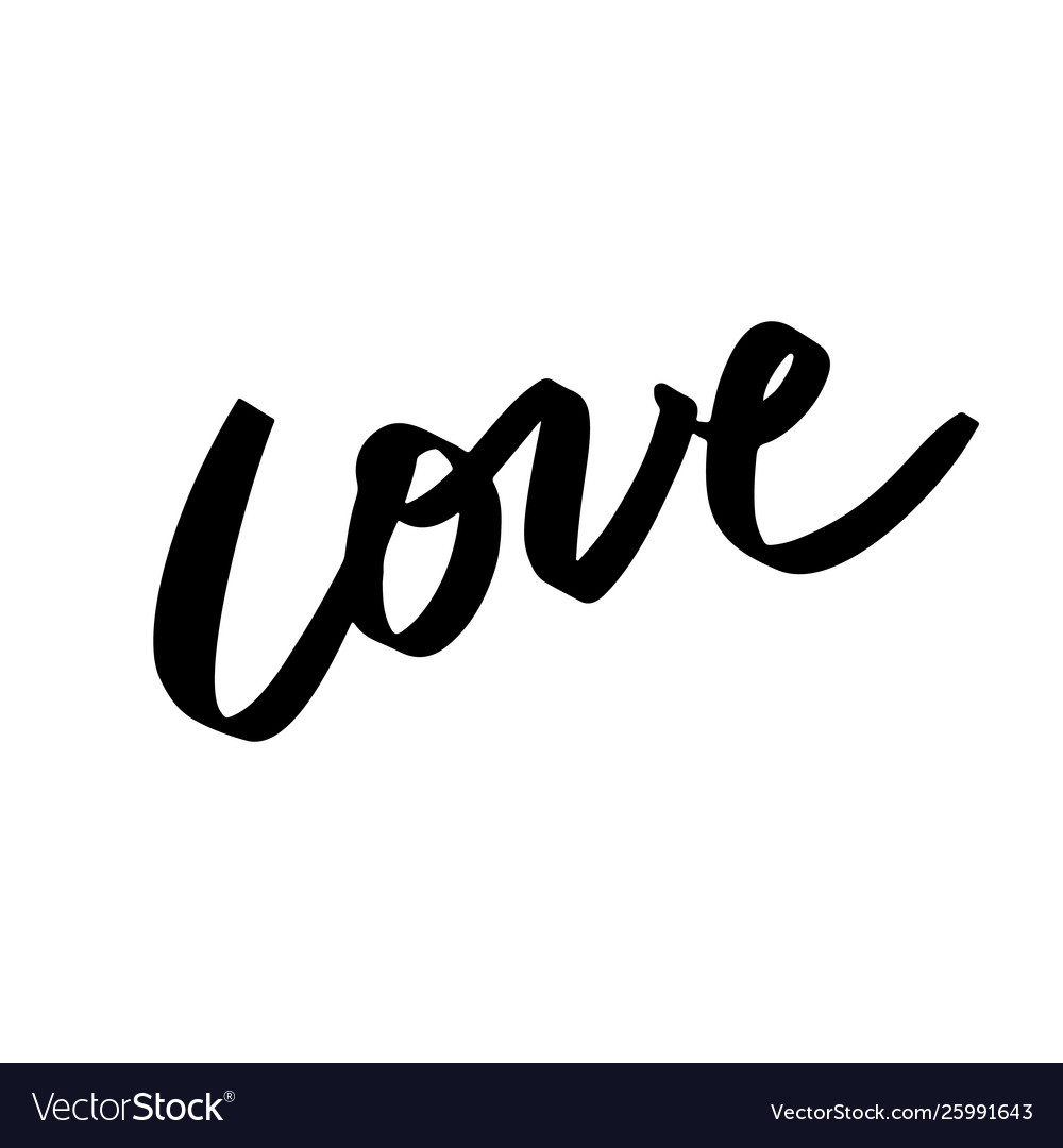 Love lettering hand written word in contemporary