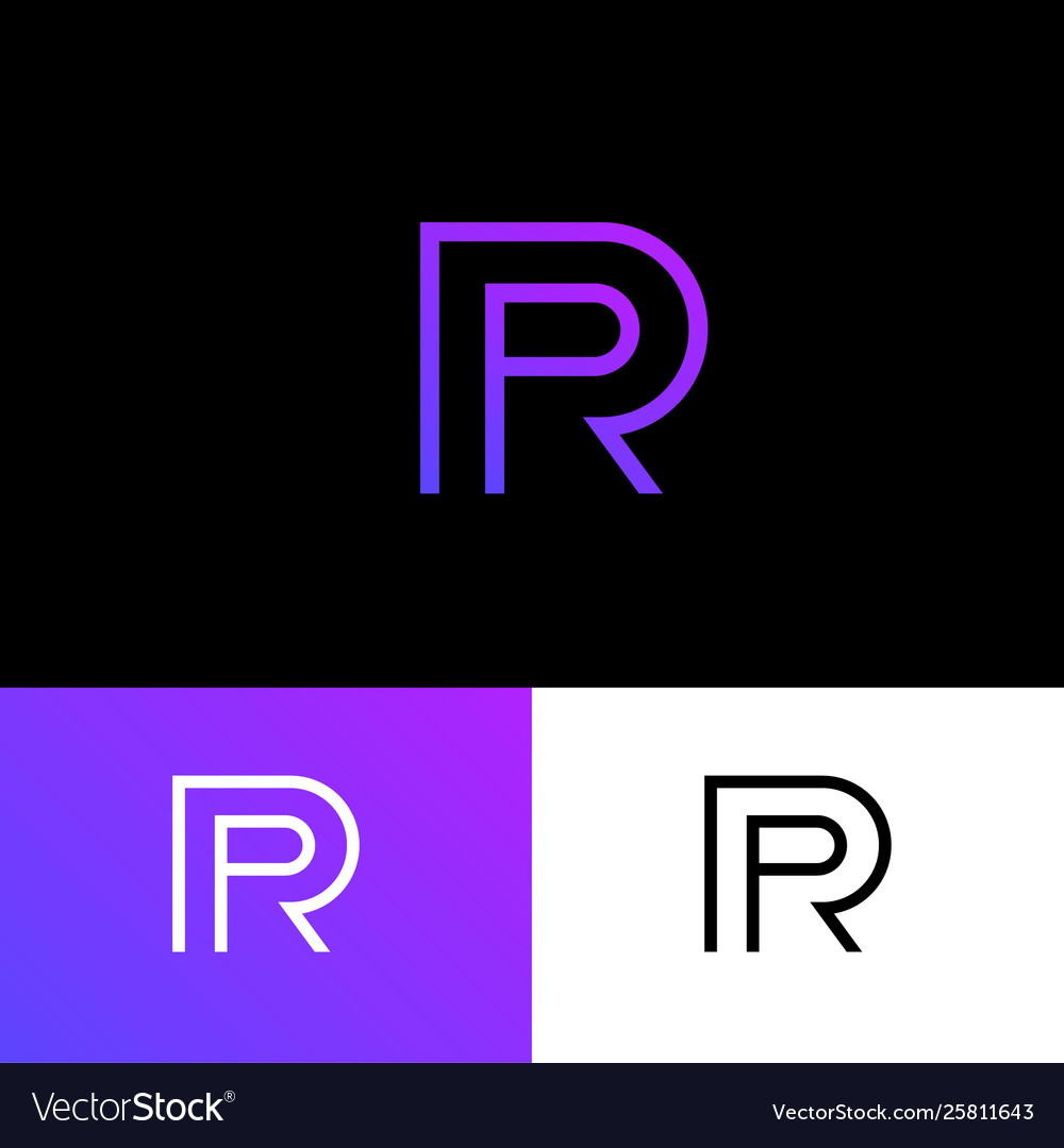 P and r linear monogram logo public relations