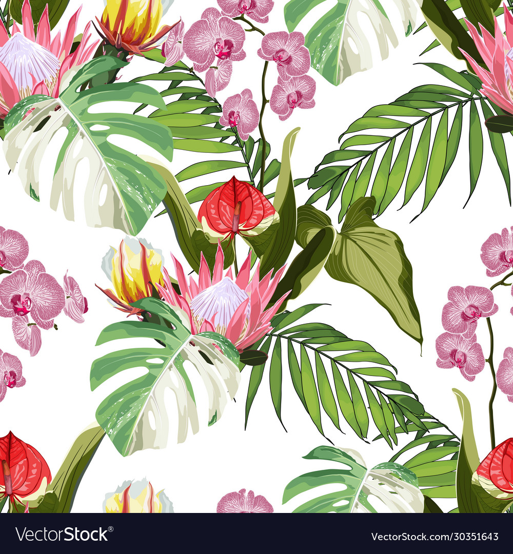 Tropical exotic flowers palm trees pattern