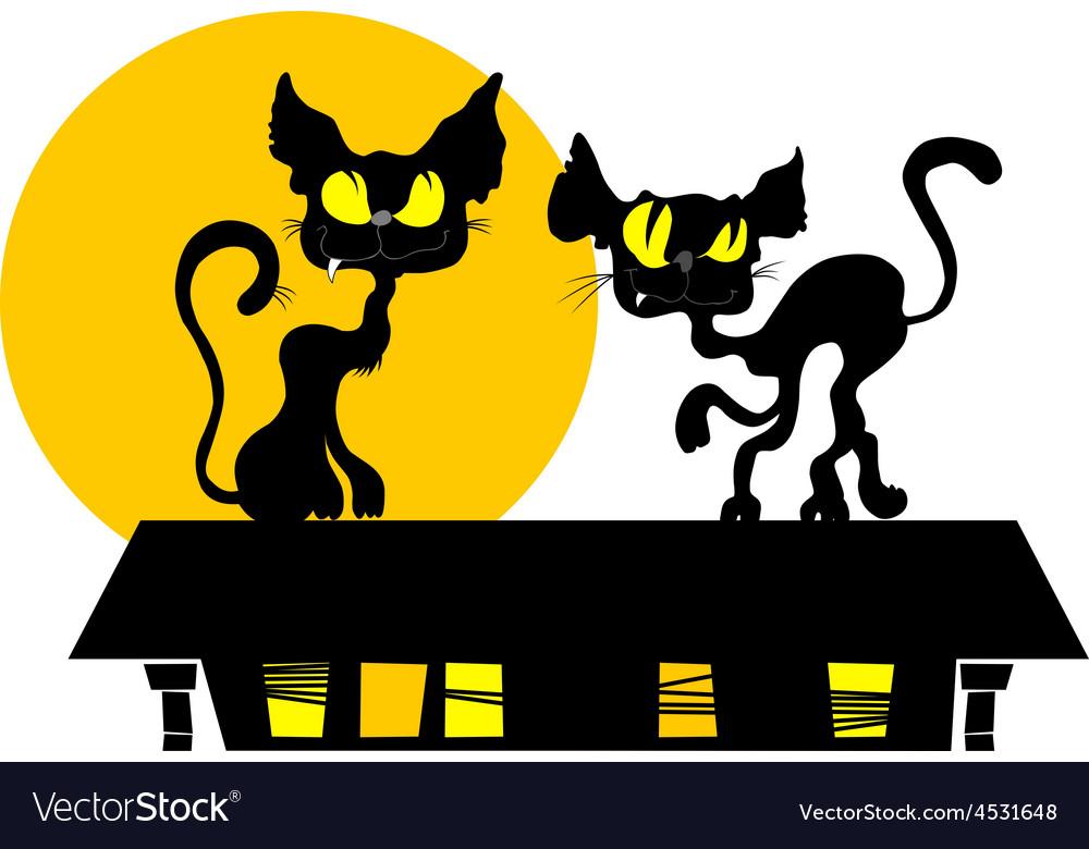 Black cat and the moon cartoon