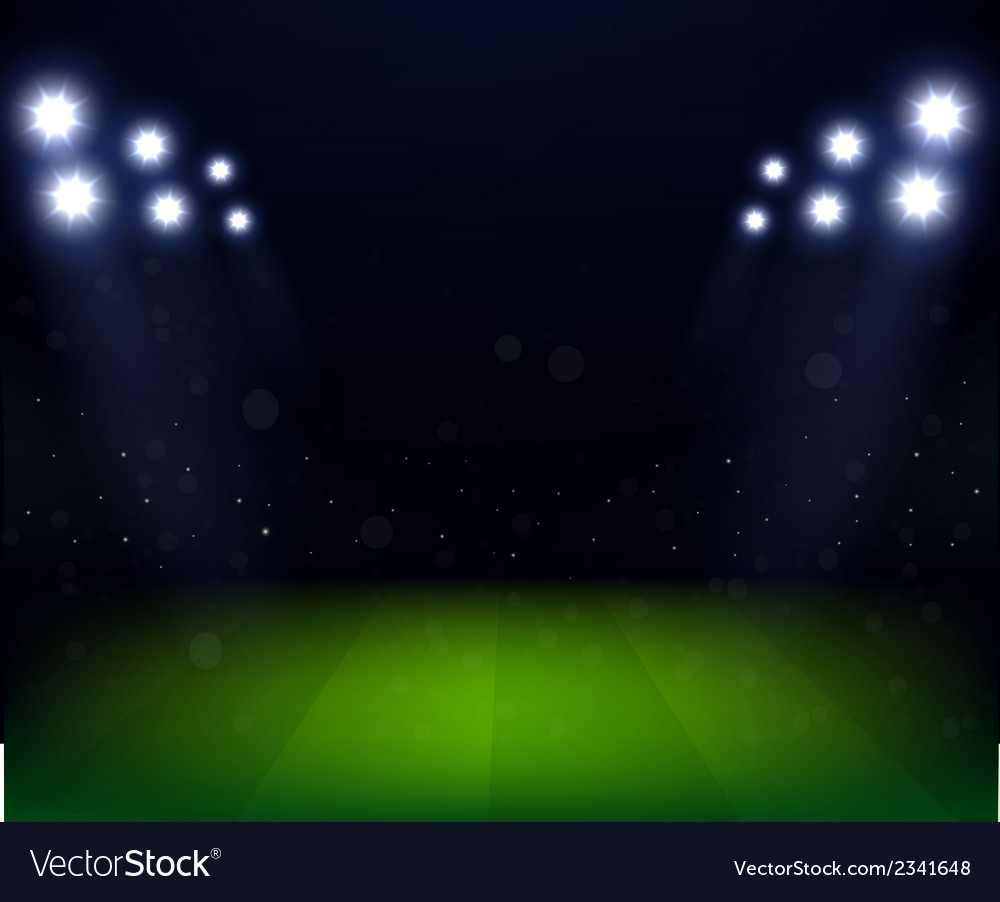 Football Stadium Night Lights: Football Stadium At Night With Spotlight Vector Image