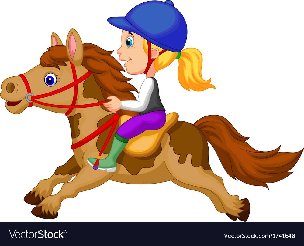 Little girl cartoon riding a pony horse