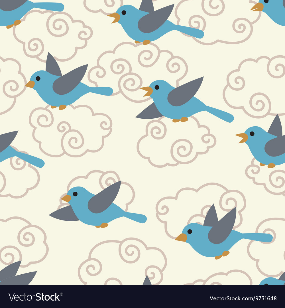 Seamless pattern with cute cartoon birds in the