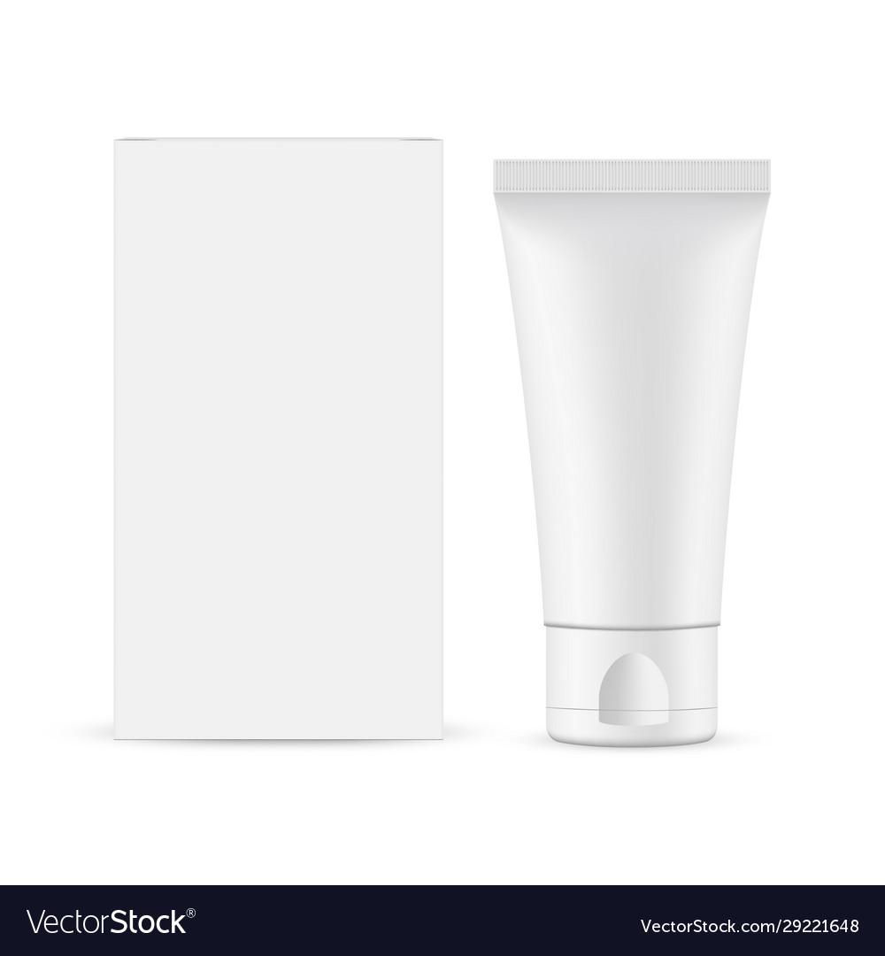 Small Plastic Tube With Cardboard Box Mockup Vector Image