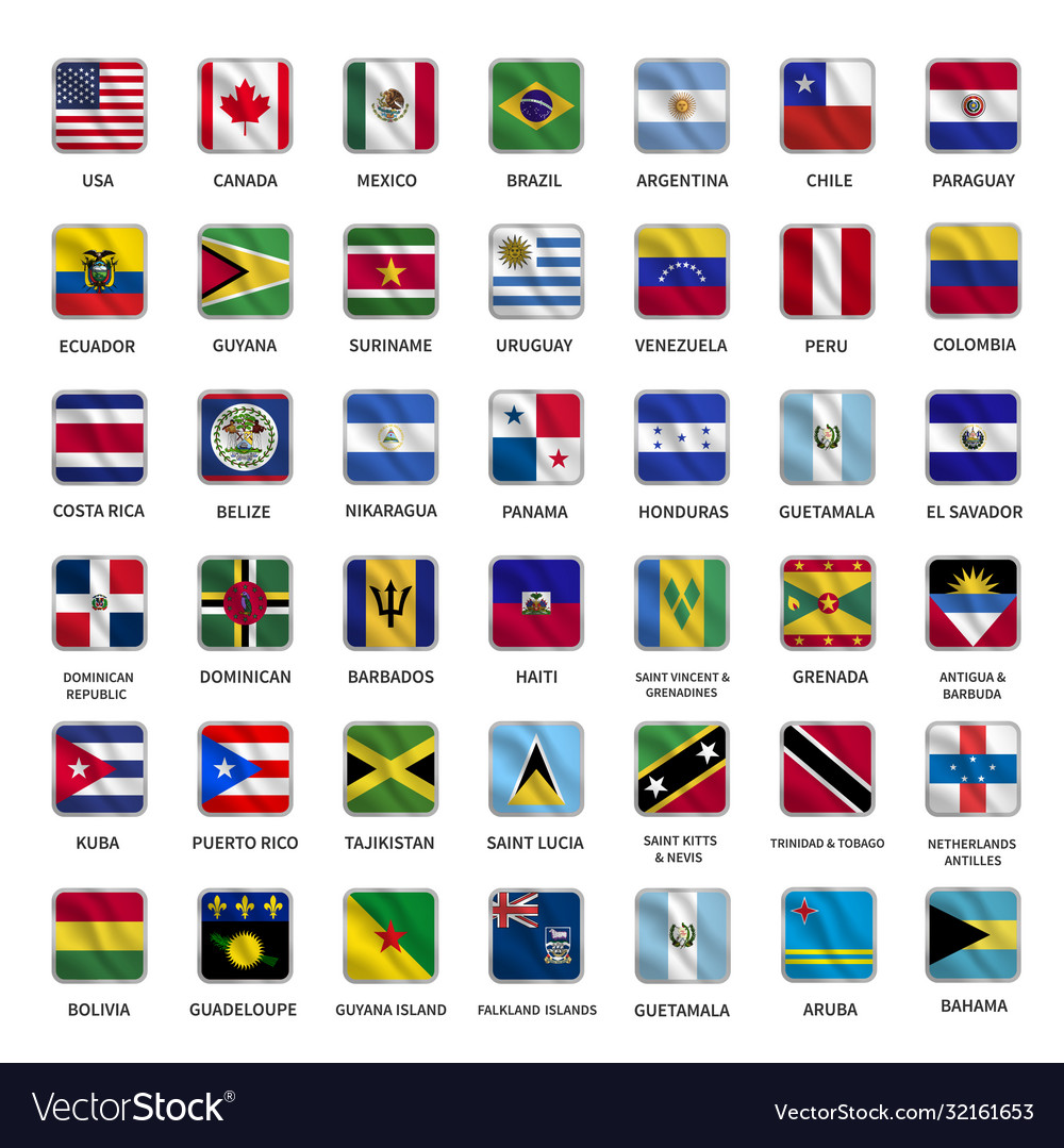 All american country flags icons square shape