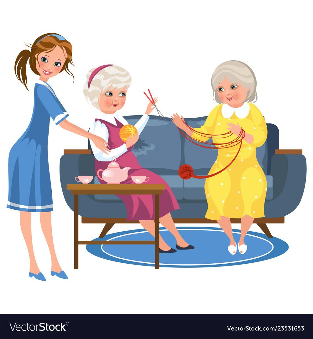Cartoon Old Friends Knitting Sitting On Sofa Vector Image