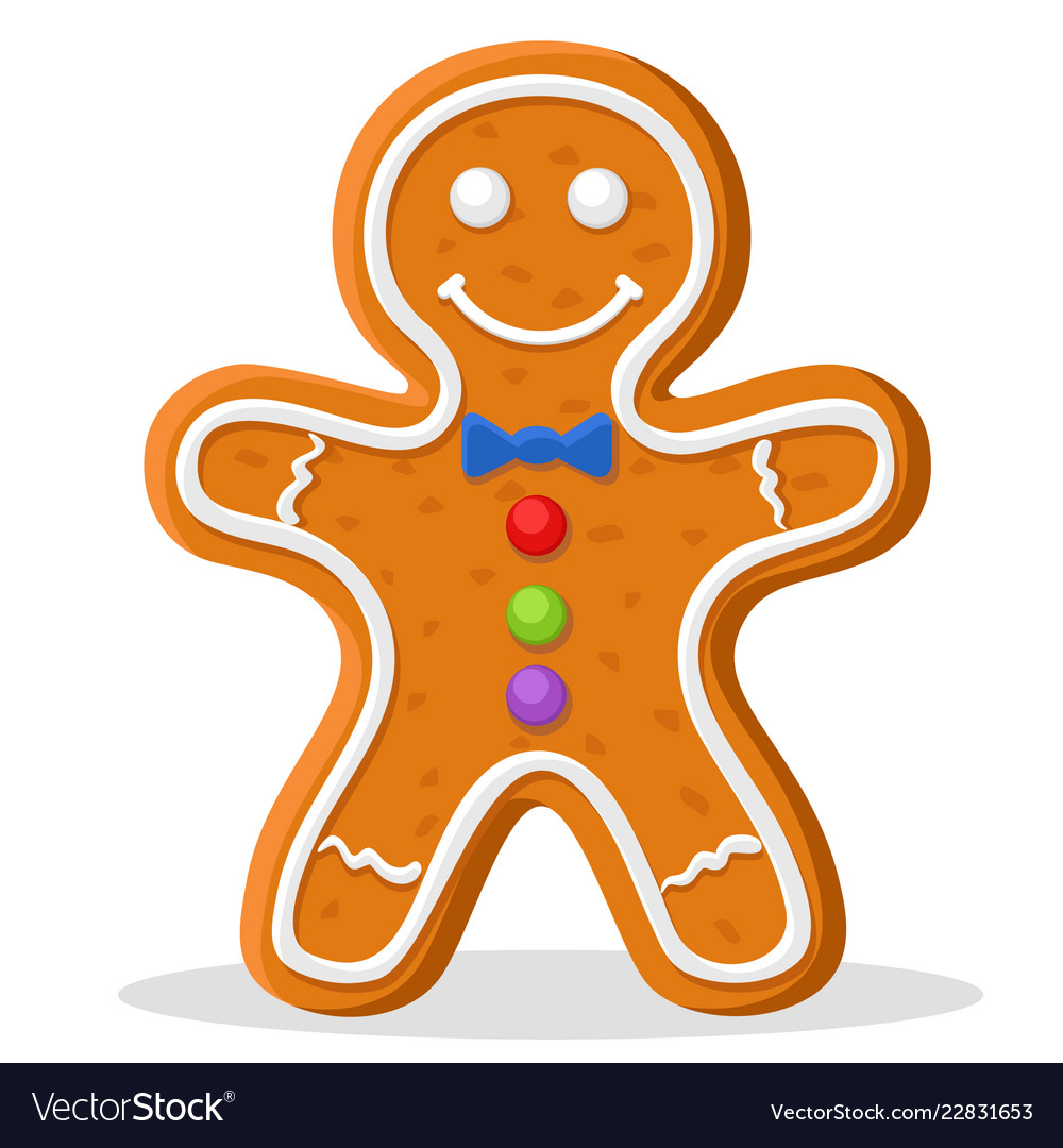 Christmas Gingerbread Man Smiling On A White