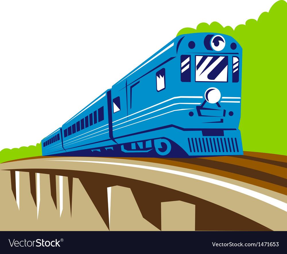 Diesel train locomotive retro viaduct bridge