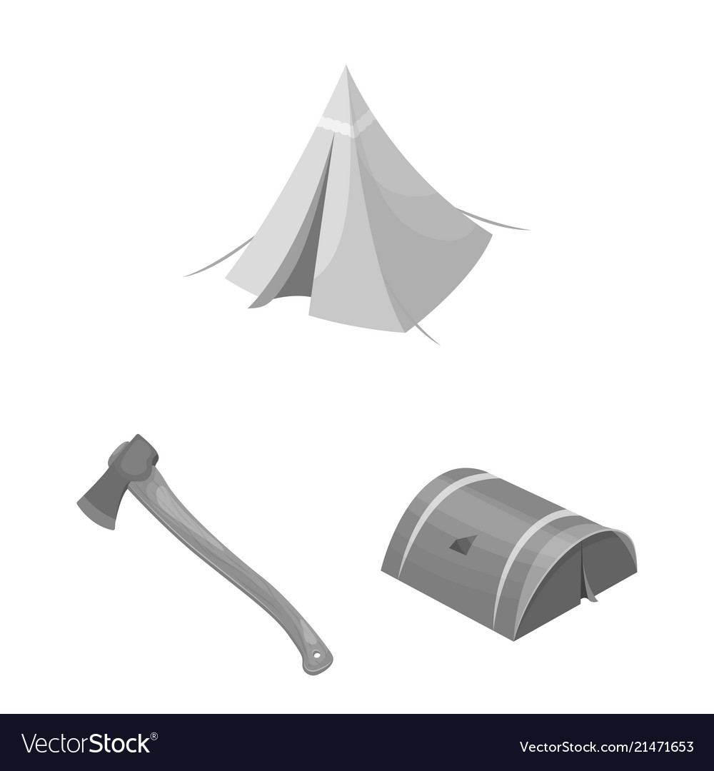 Different kinds of tents monochrome icons in set