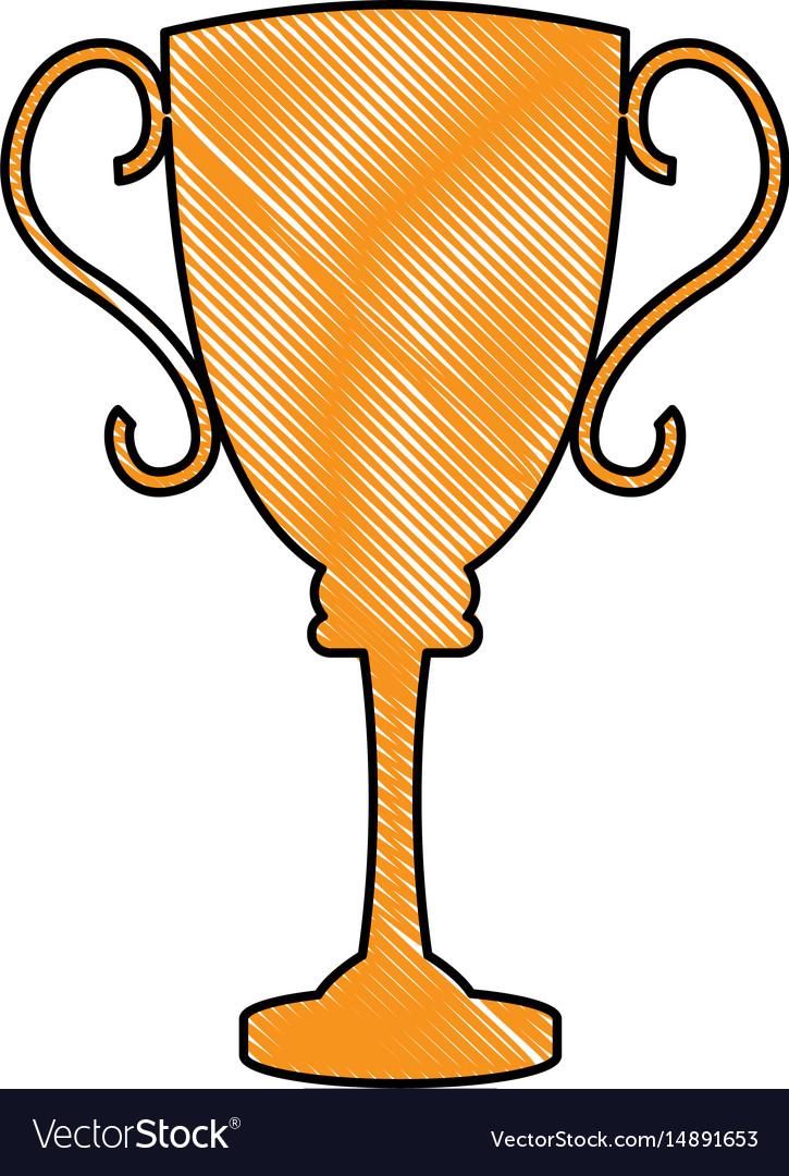Drawing trophy award sport winner element vector image