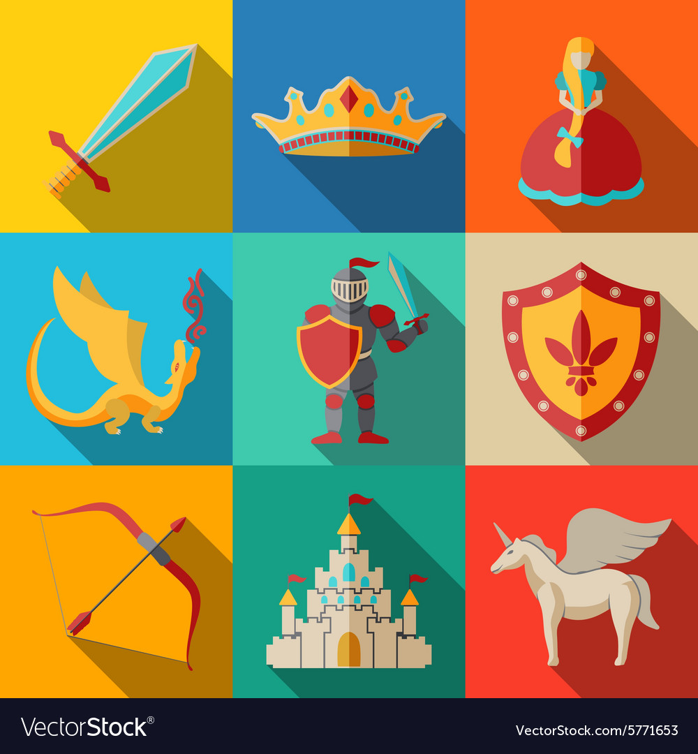 Flat icons set fairytale game - sword bow