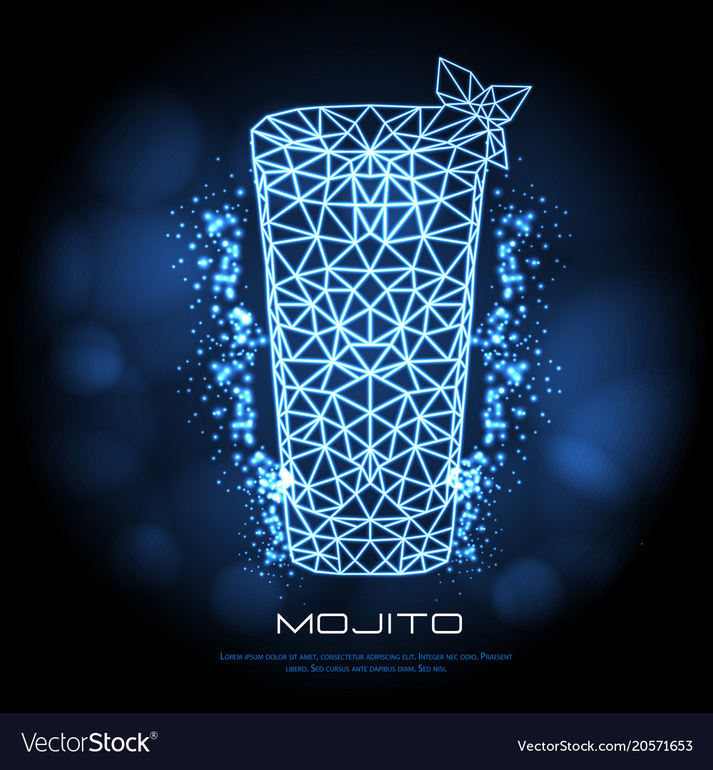 Hipster polygonal cocktail mojito neon sign