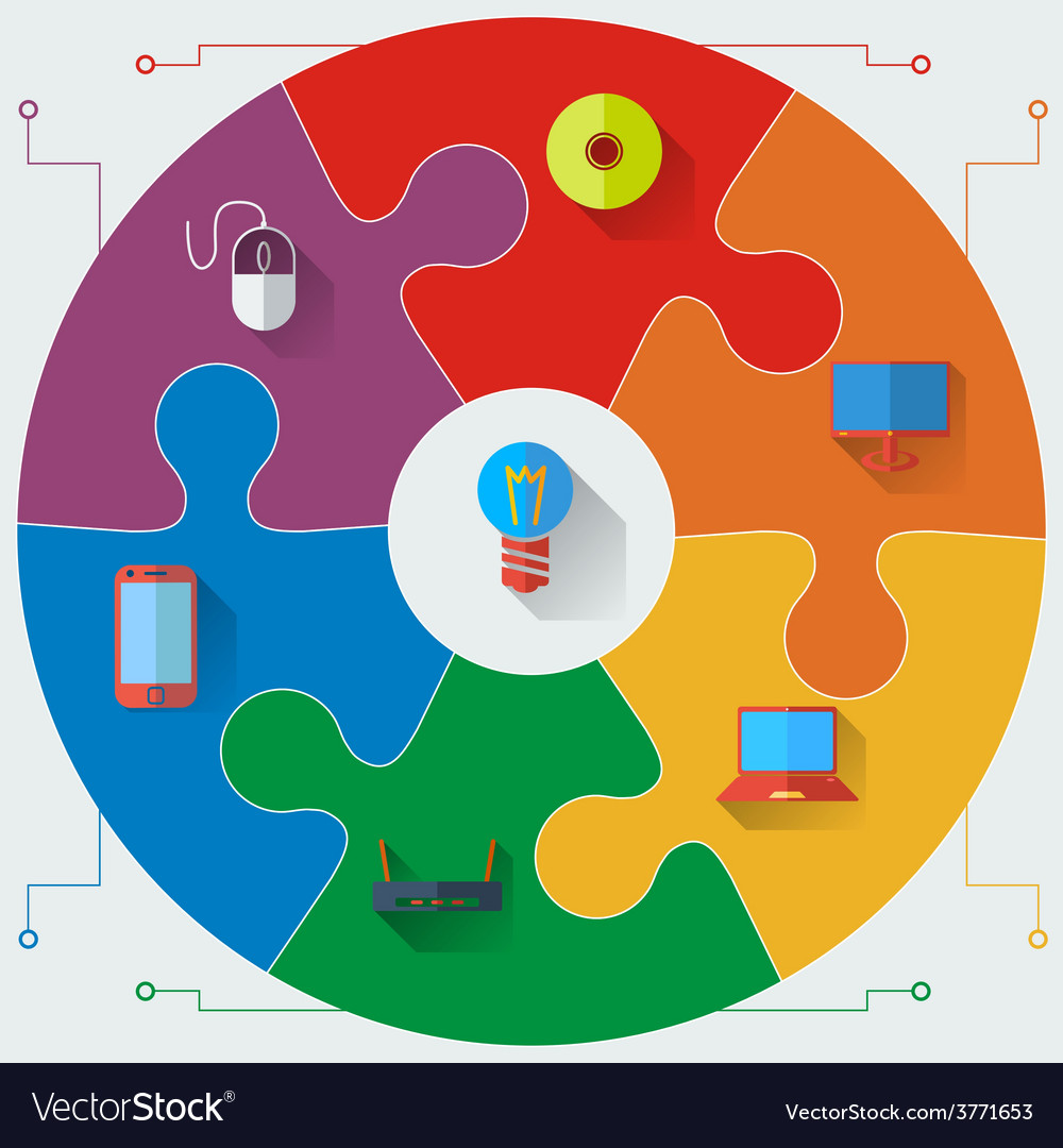 infographics report templates in a circular puzzle