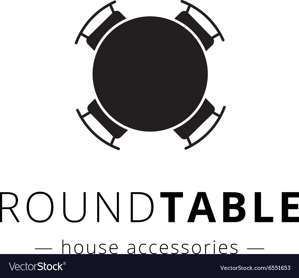 Minimalistic black round table with chairs vector image