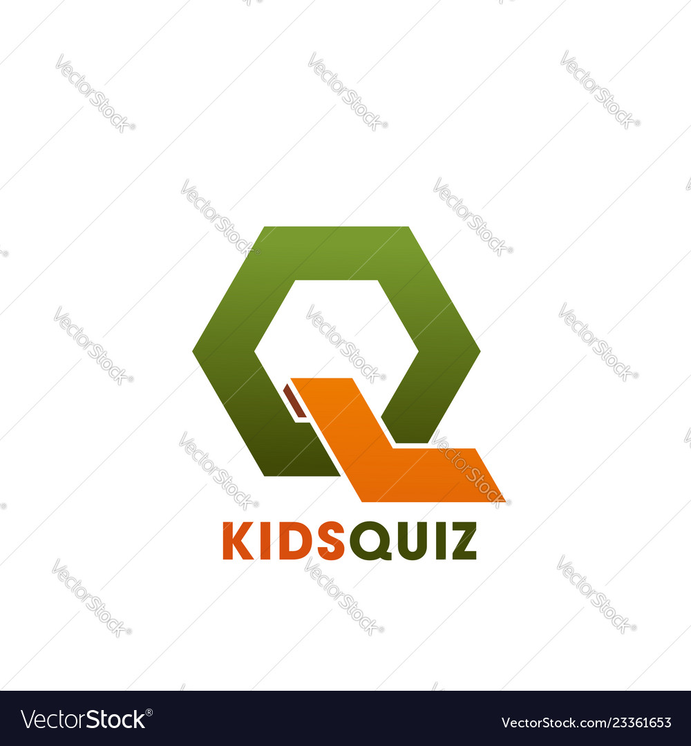 Q Letter Icon For Kids Quiz Education Club Vector Image