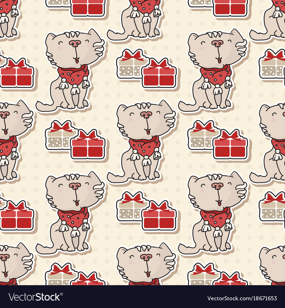 Seamless pattern with the cute cat with gifts