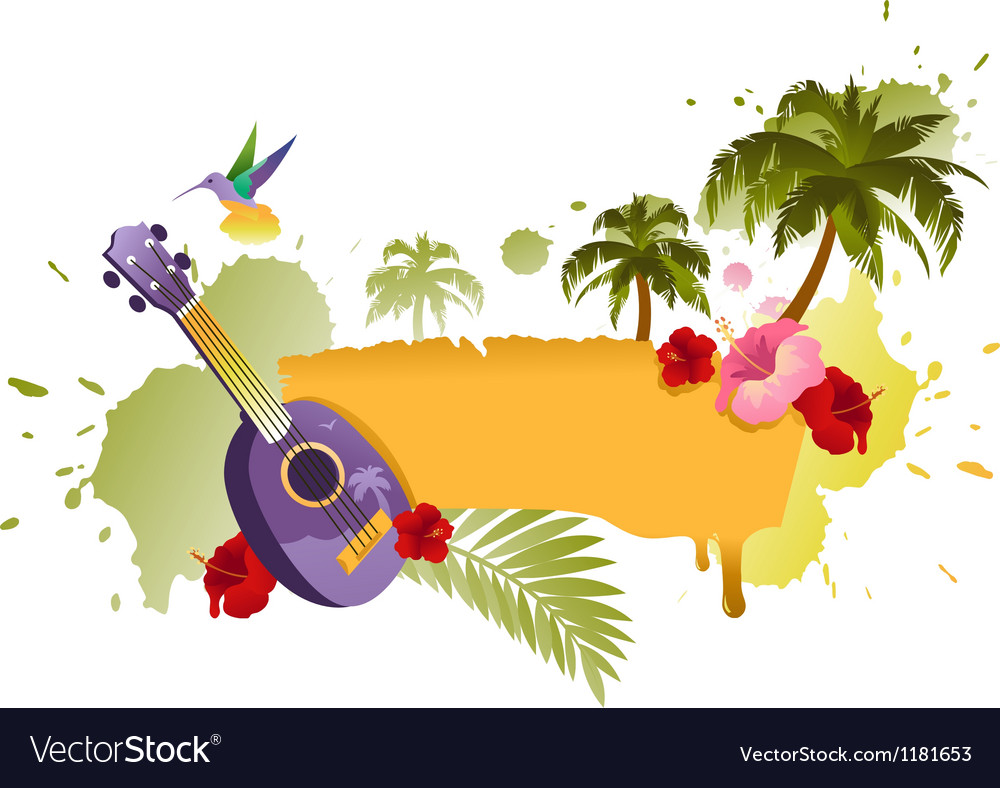 Tropical Banner With Palm Trees Ukulele And Flower