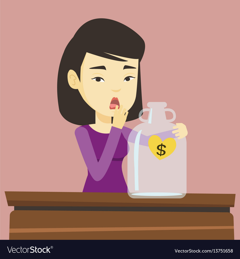 Bankrupt woman looking at empty money box