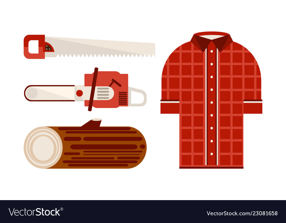 Flat set of icons related to lumberjack