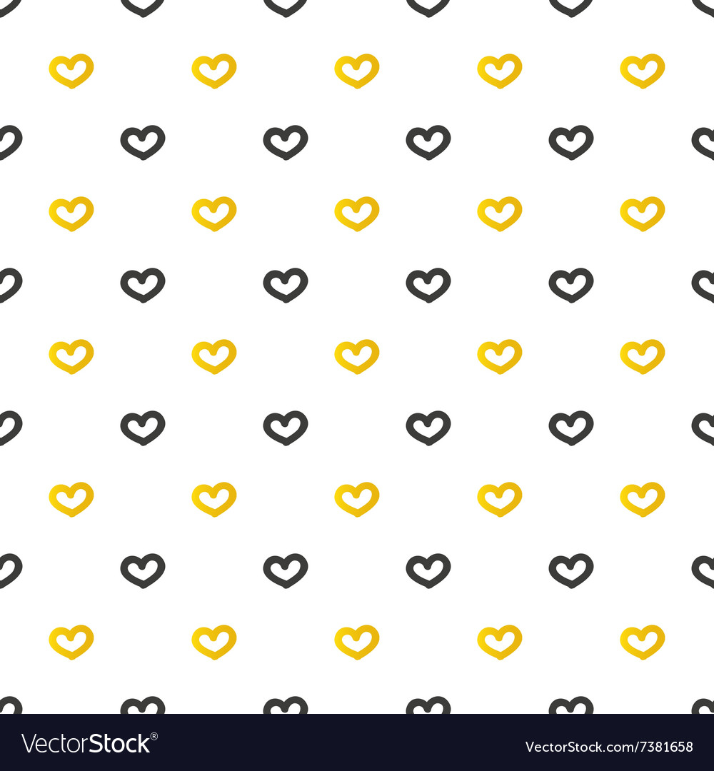 Golden and black hearts seamless pattern vector image