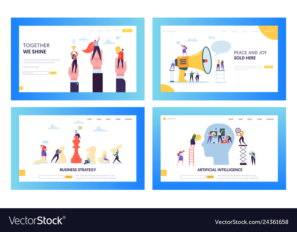 Modern business strategy concept landing page set