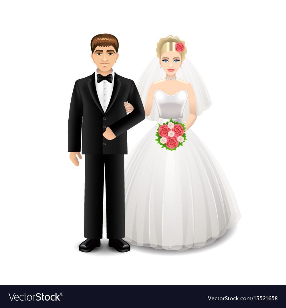 Newlyweds isolated on white