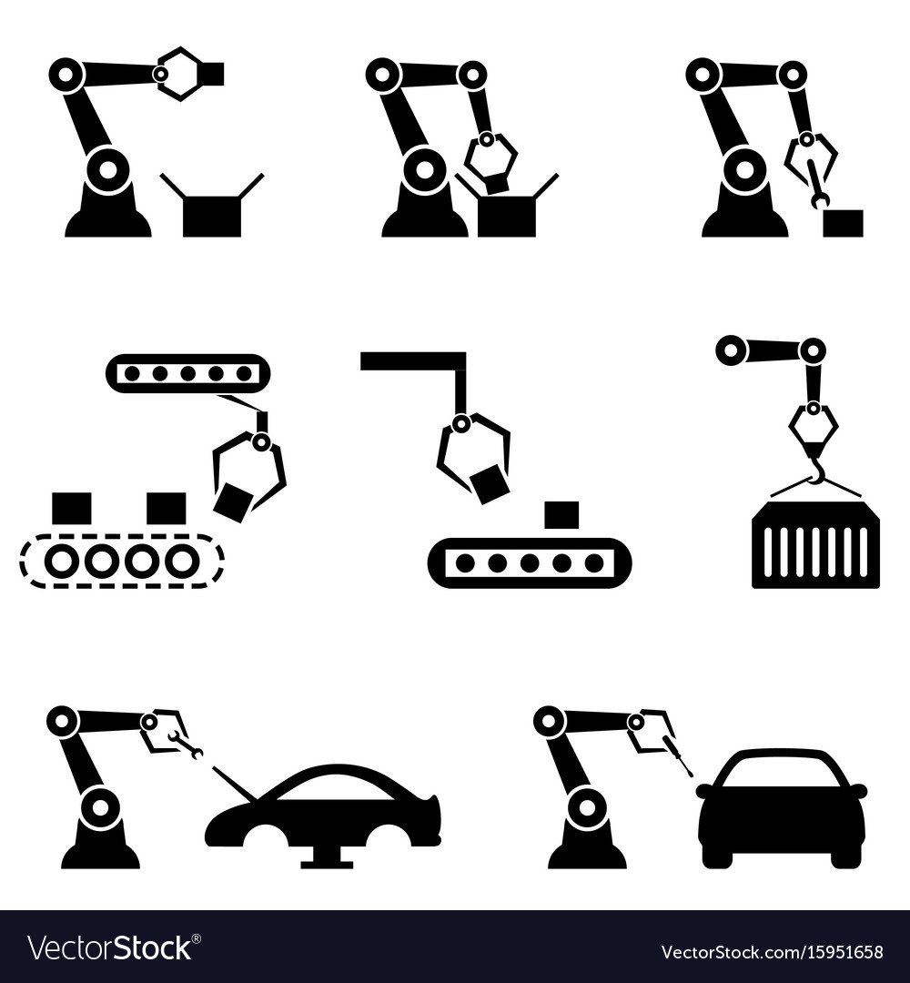 Robot arms in automated factory vector image