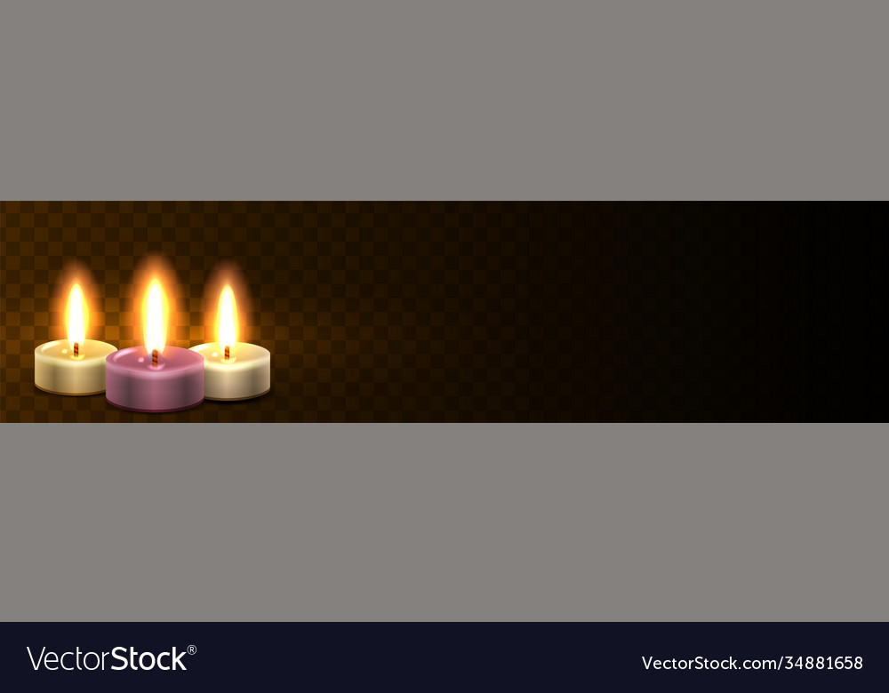 Site header with candles realistic light web