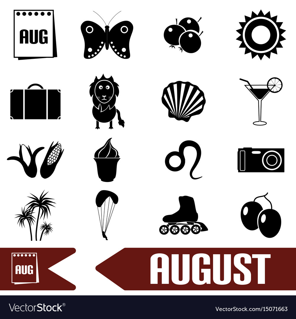 August month theme set of simple icons eps10 vector image