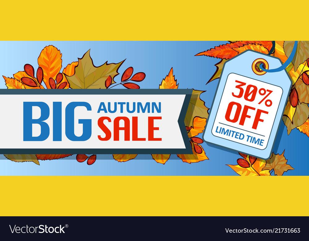 Big autumn sale banner horizontal cartoon style