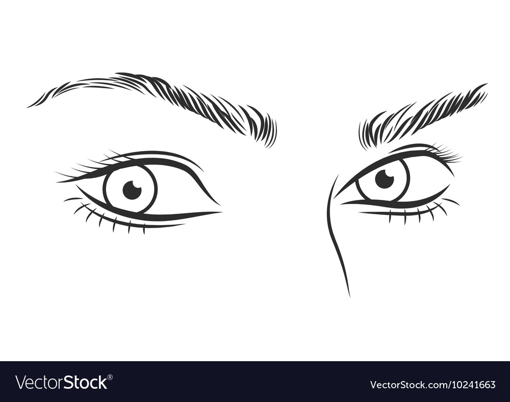 Black and white girl face outline with blue eyes